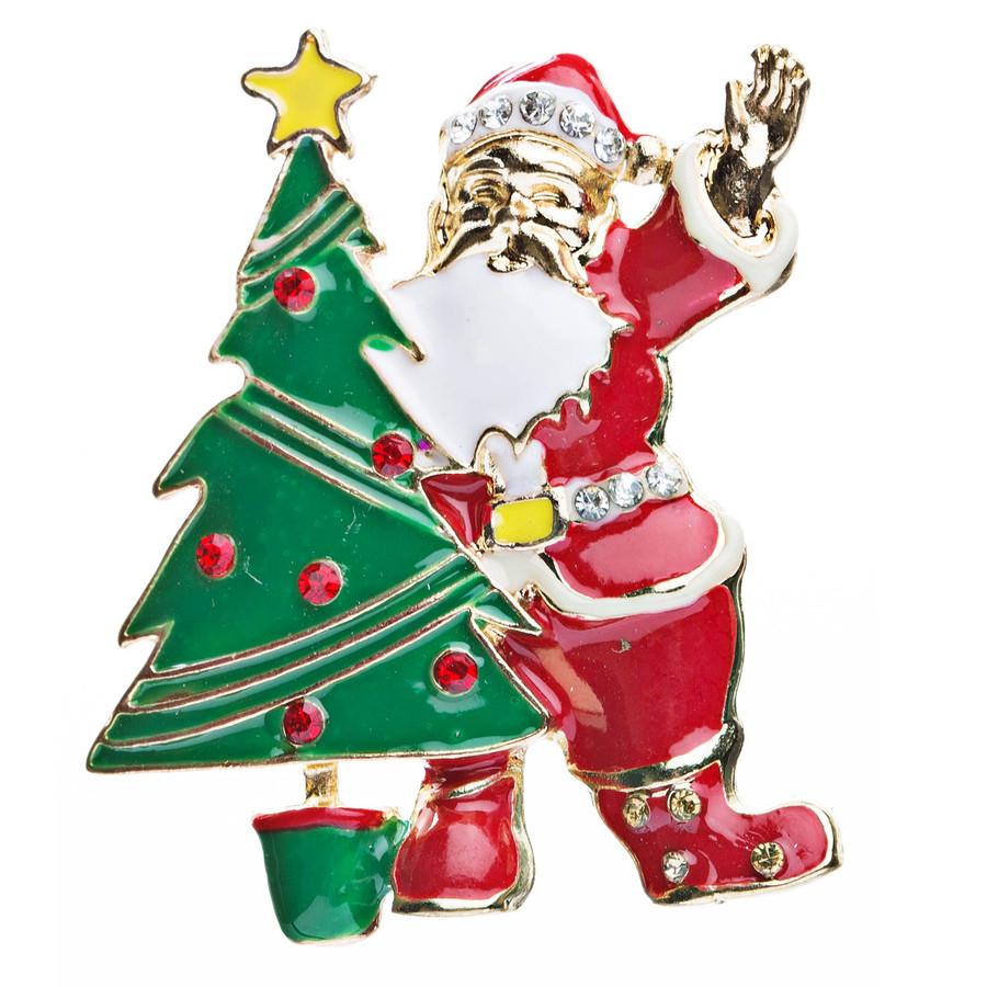 Christmas Jewelry Crystal Rhinestone Santa Claus Tree Charm Brooch Pin BH63