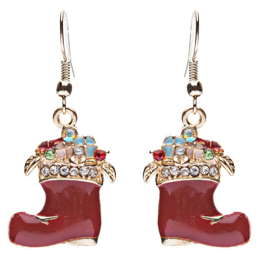 Christmas Jewelry Crystal Rhinestone Gifts Boot Shoe Dangle Earrings E637
