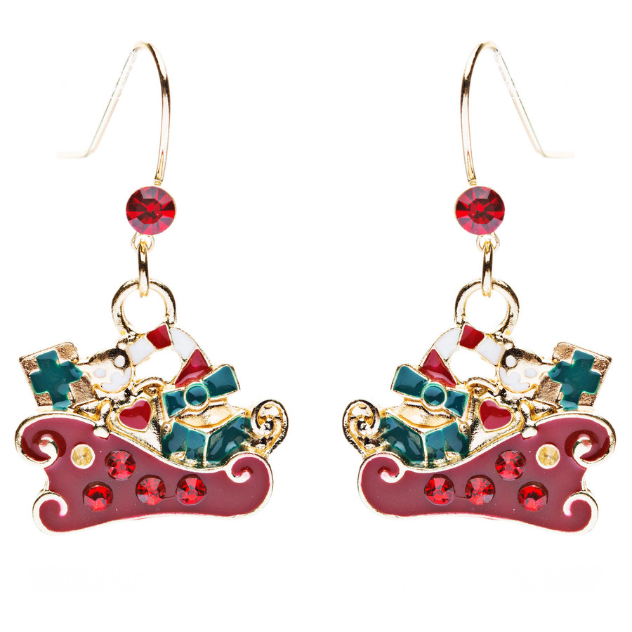 Christmas Jewelry Crystal Rhinestone Presents Gifts Sleigh Charm Earrings E641