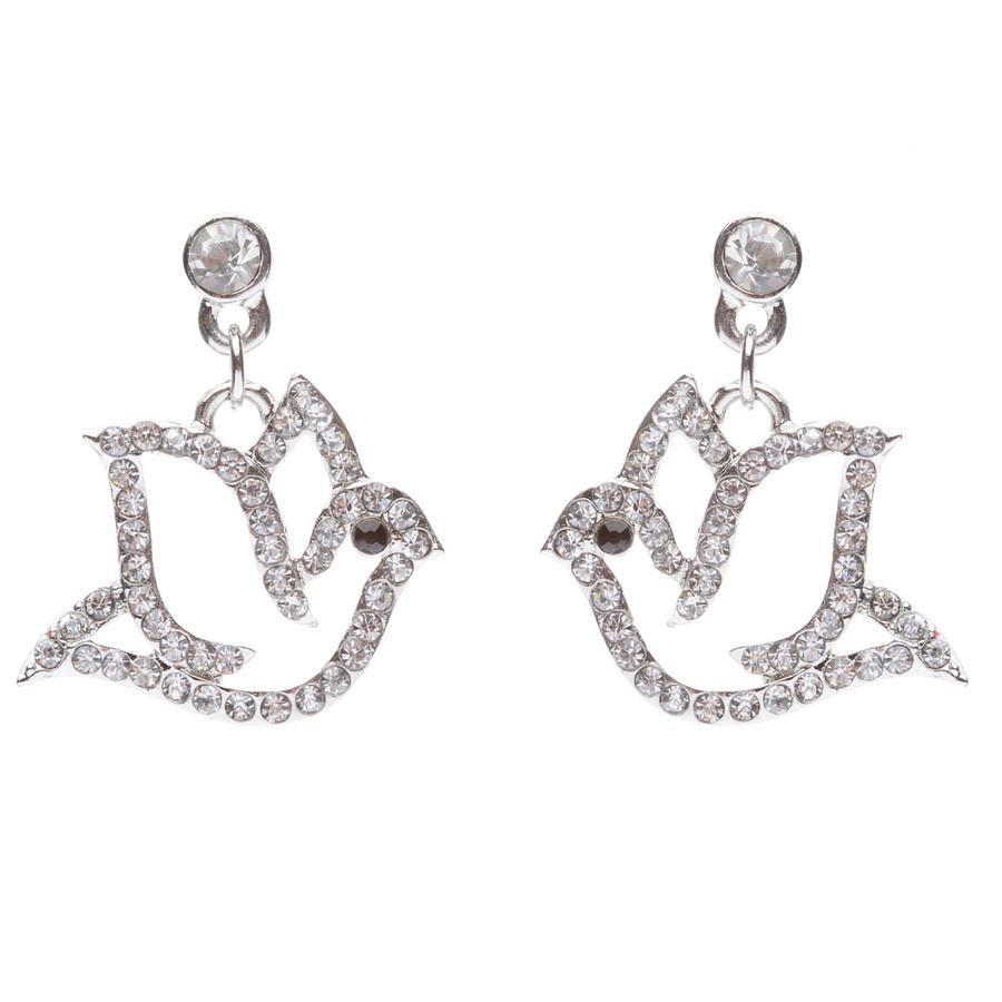 Christmas Jewelry Crystal Rhinestone Beautiful Dazzle Dove Dangle Earring E648