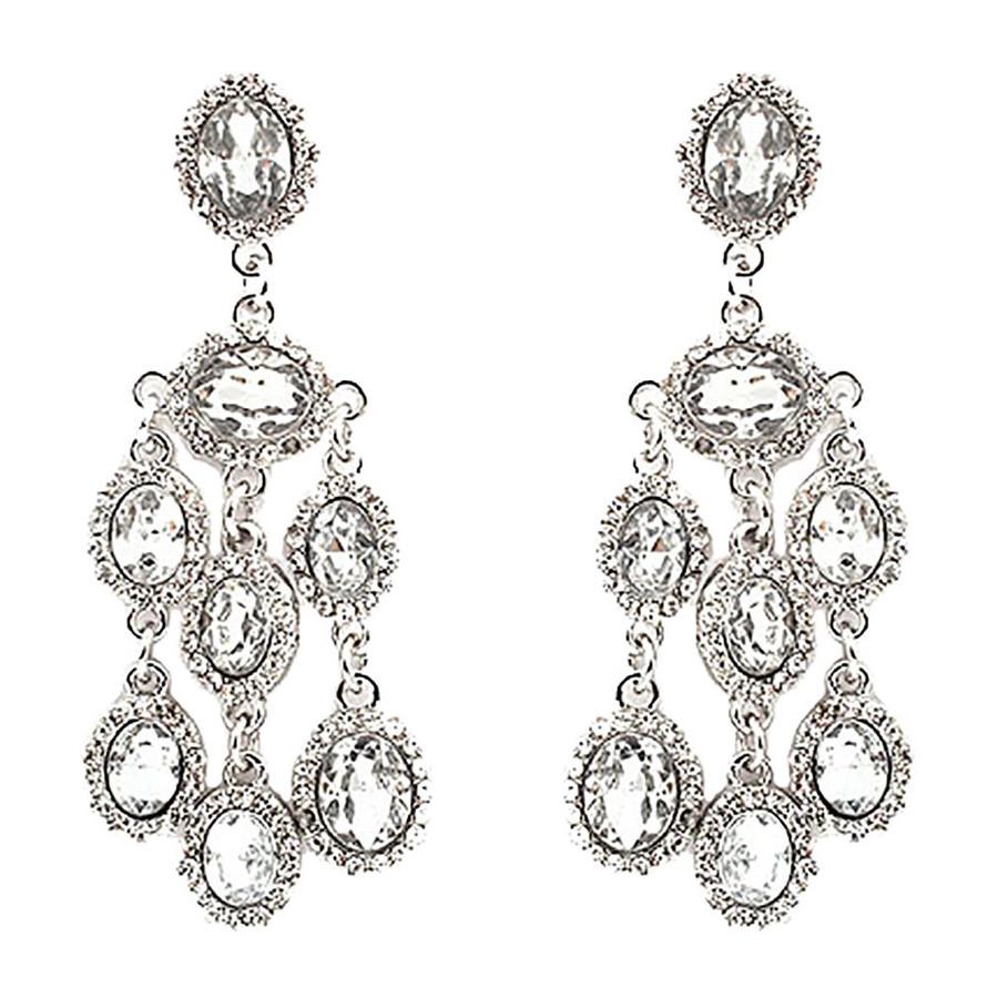 Bridal Wedding Jewelry Crystal Rhinestone Dangle Drop Earrings E606