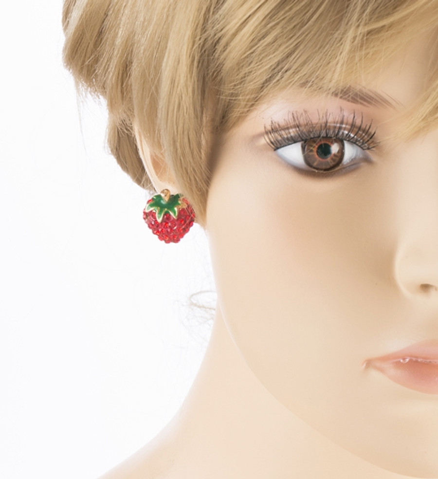 Cute Strawberry Shape Sparkle Crystal Rhinestone Paved Earrings Red Gold E488