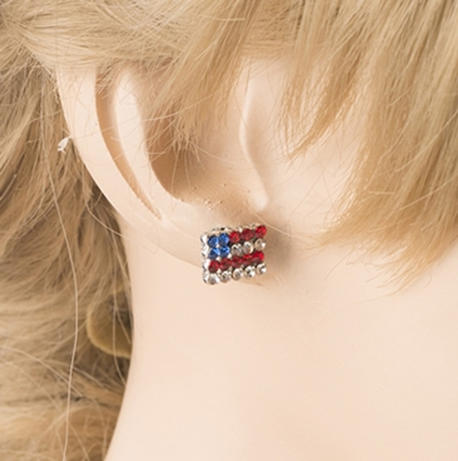 Patriotic American Flag Sparkle Crystal Rhinestone Charm Earrings E684