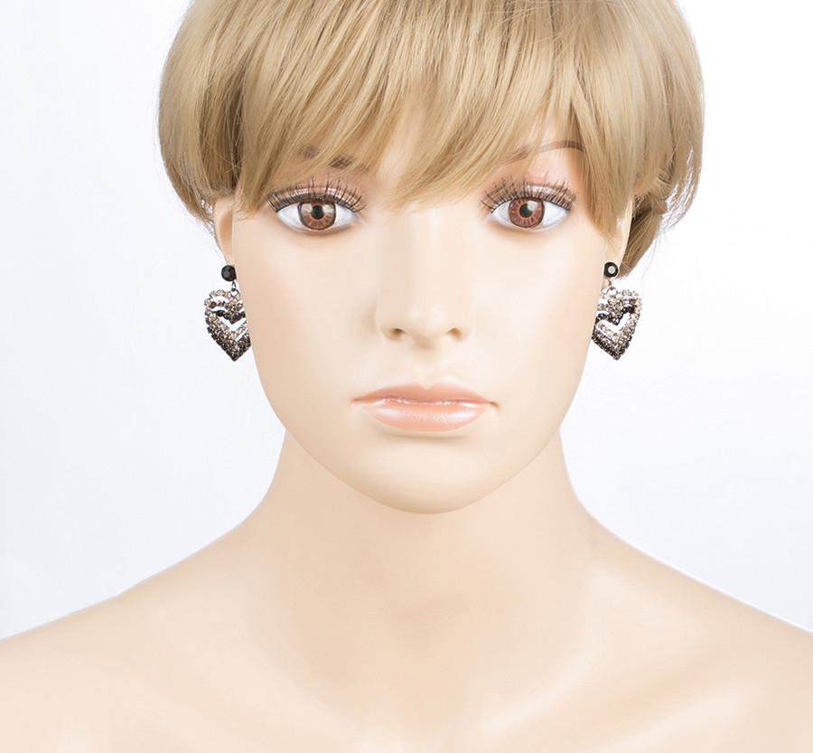 Valentines Jewelry Crystal Rhinestone Heart Charm Dangle Earrings E328 Black