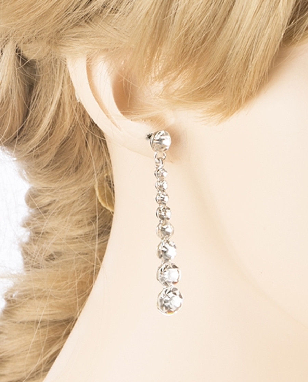 Bridal Wedding Prom Jewelry Crystal Rhinestone Linear Drop Earrings E436