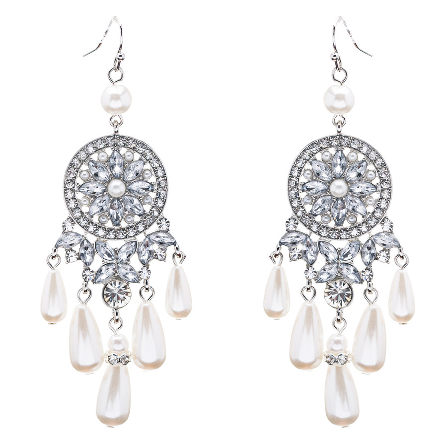 Bridal Wedding Jewelry Set Crystal Rhinestone Pearl Earrings ER00607RDCLWT