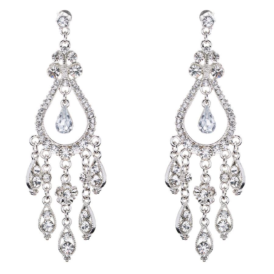 Bridal Wedding Jewelry Set Crystal Rhinestone Stunning Dangle Earrings E609 SV