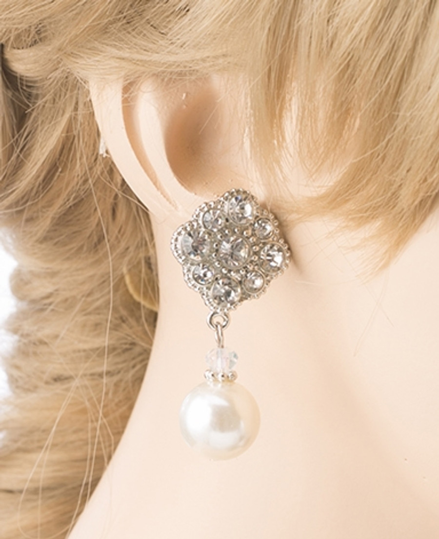 Bridal Wedding Jewelry Set Crystal Rhinestone Pearl Classic Dangle Earrings E610
