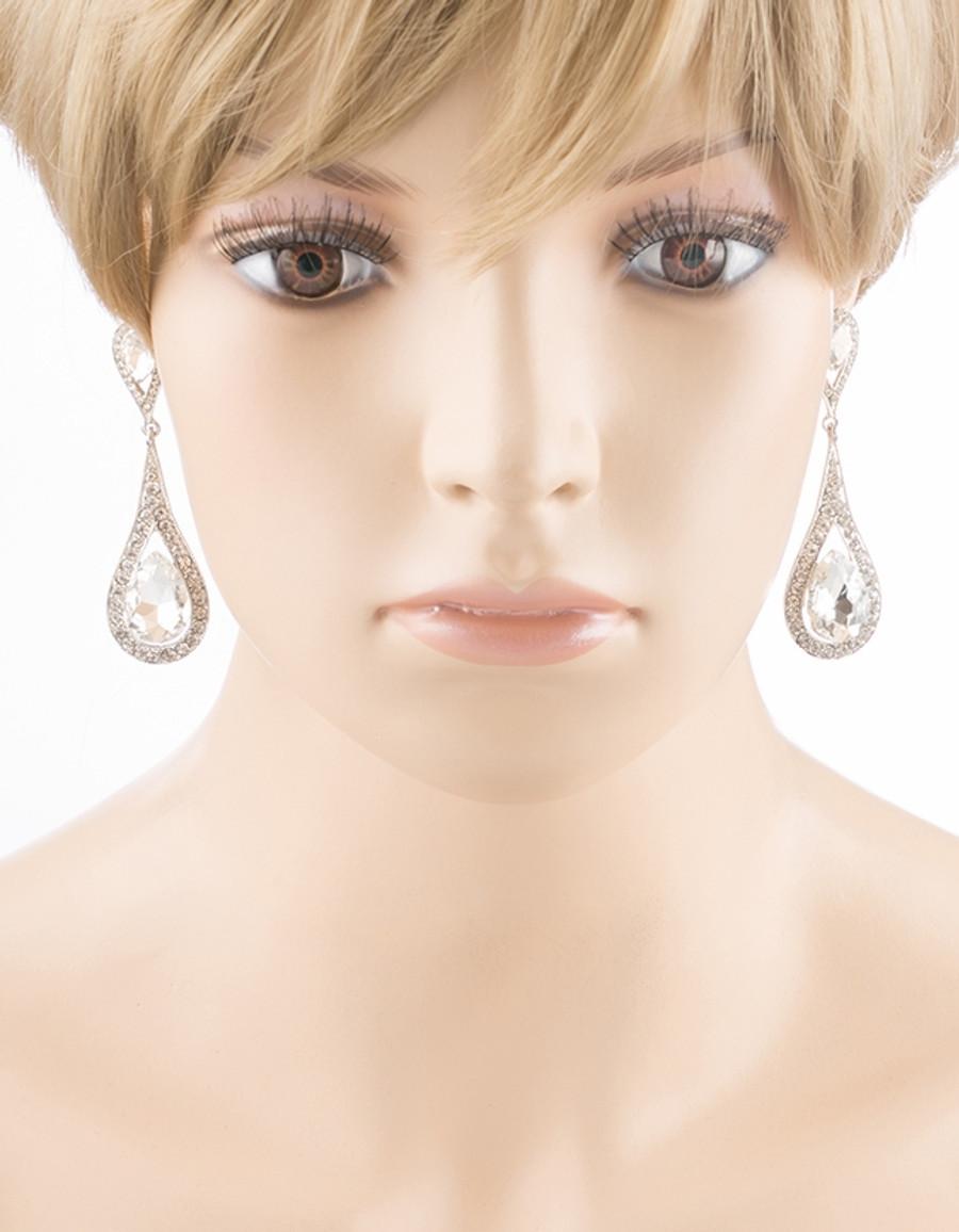 Bridal Wedding Jewelry Prom Beautiful Crystal Rhinestone Dangle Earrings E613