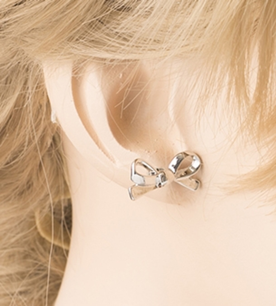 Cute Mini Bow Tie Ribbon Fashion Stud Post Earrings E615 Silver