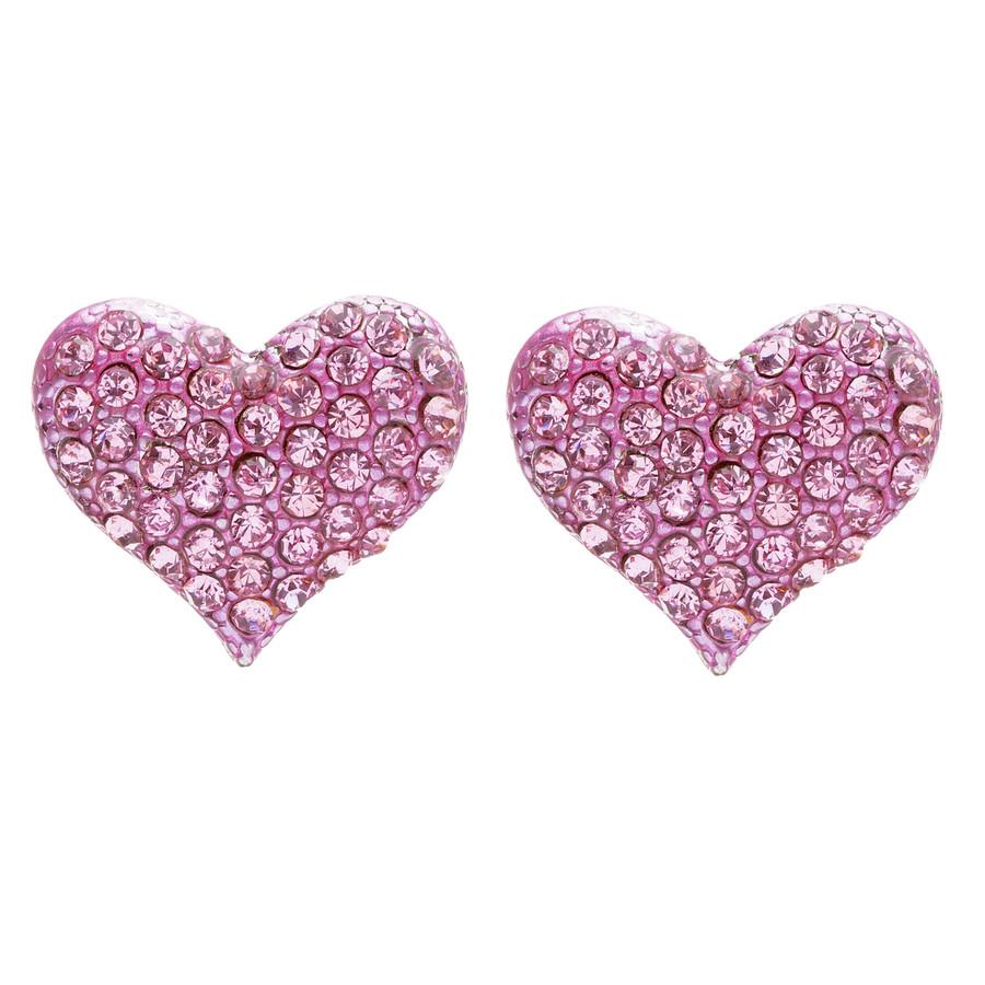 Lovely Sweet Beautiful Heart Shape Valentine's Stud Post Earrings E679 Pink