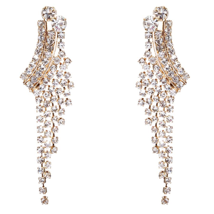 Bridal Wedding Jewelry Crystal Rhinestone Cascading Dangle Earrings E946 Gold