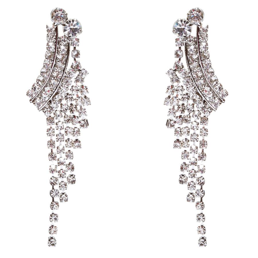 Bridal Wedding Jewelry Crystal Rhinestone Cascading Dangle Earrings E946 Silver