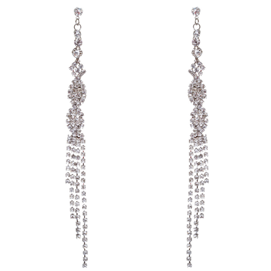 Bridal Wedding Jewelry Crystal Rhinestone Unique Long Drop Dangle Earrings E947S
