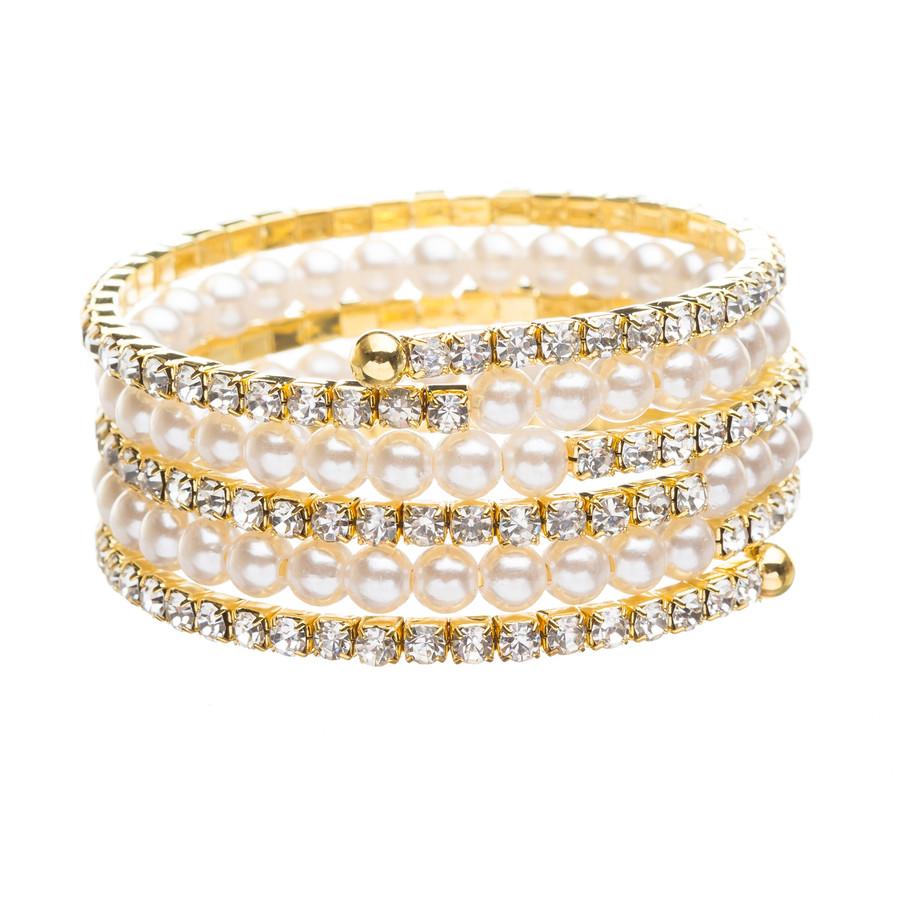 Bridal Wedding Jewelry Crystal Rhinestone Pearl Beautiful Wrap Bracelet B402 GD