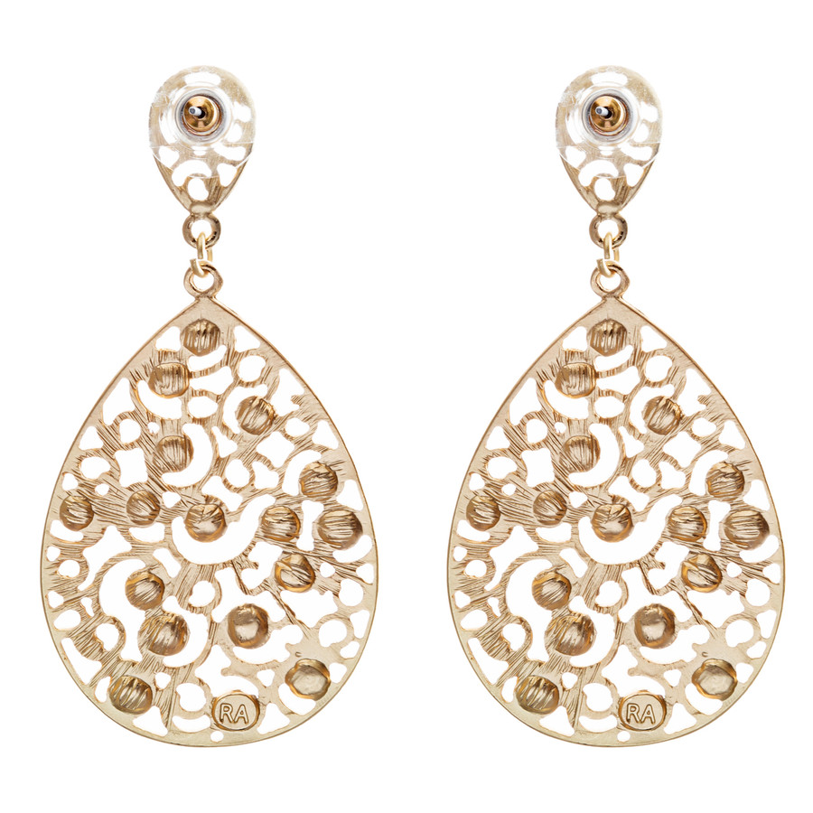 Dazzling Swirl Pattern Crystal Rhinestone Bridal Prom Fashion Earrings E314 Gold