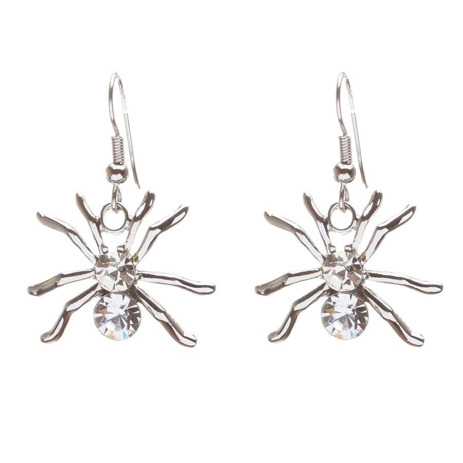 Halloween Costume Jewelry Crystal Rhinestone Spider Dangle Earrings E677 Silver