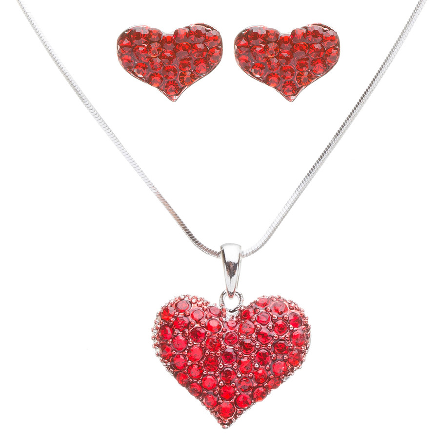 Lovely Sweet Beautiful Heart Shape Valentine's Day Necklace Set JN166 Red