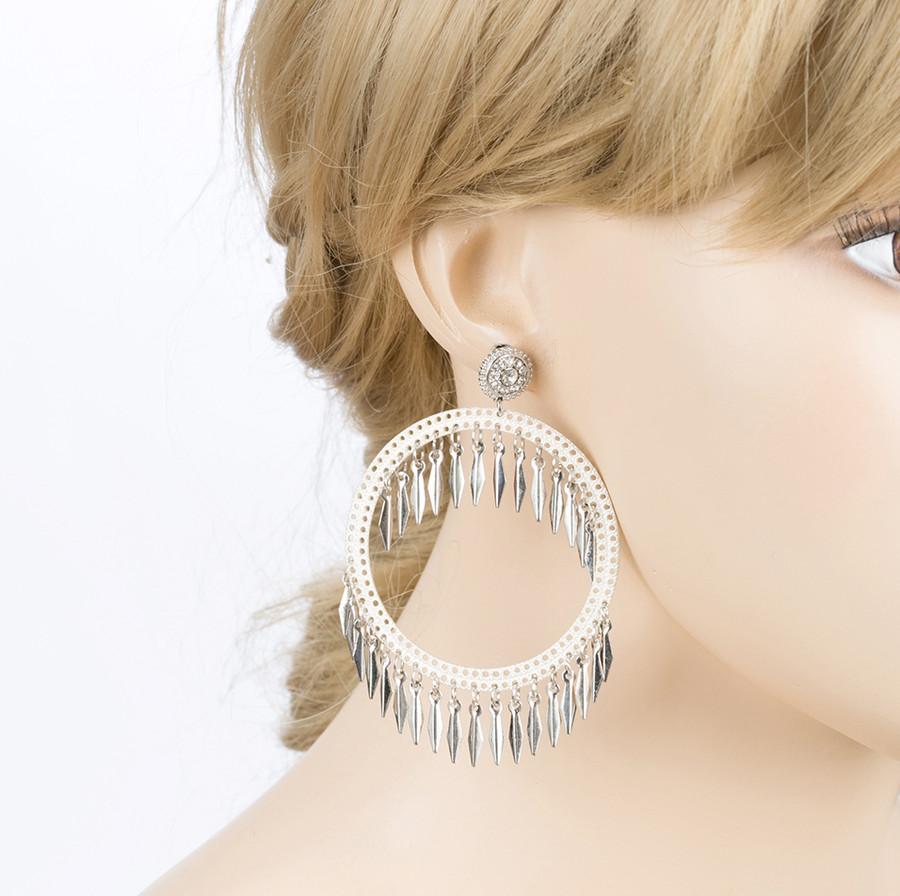Draped Tassel Dangle Hoop Crystal Earrings Silver