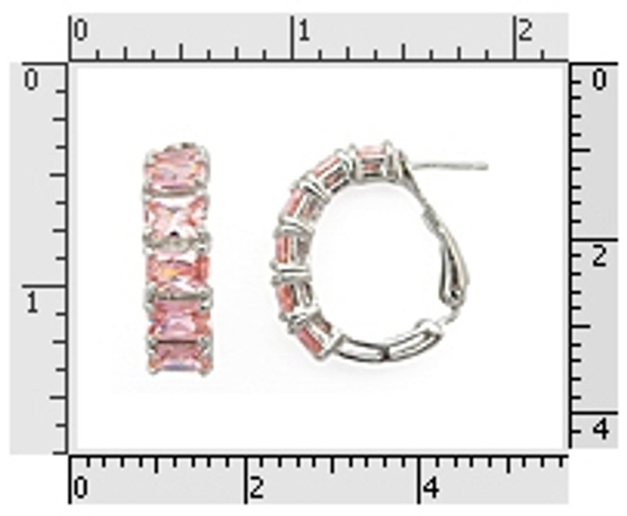 Pink CZ Baguete Earrings 925 Sterling Silver