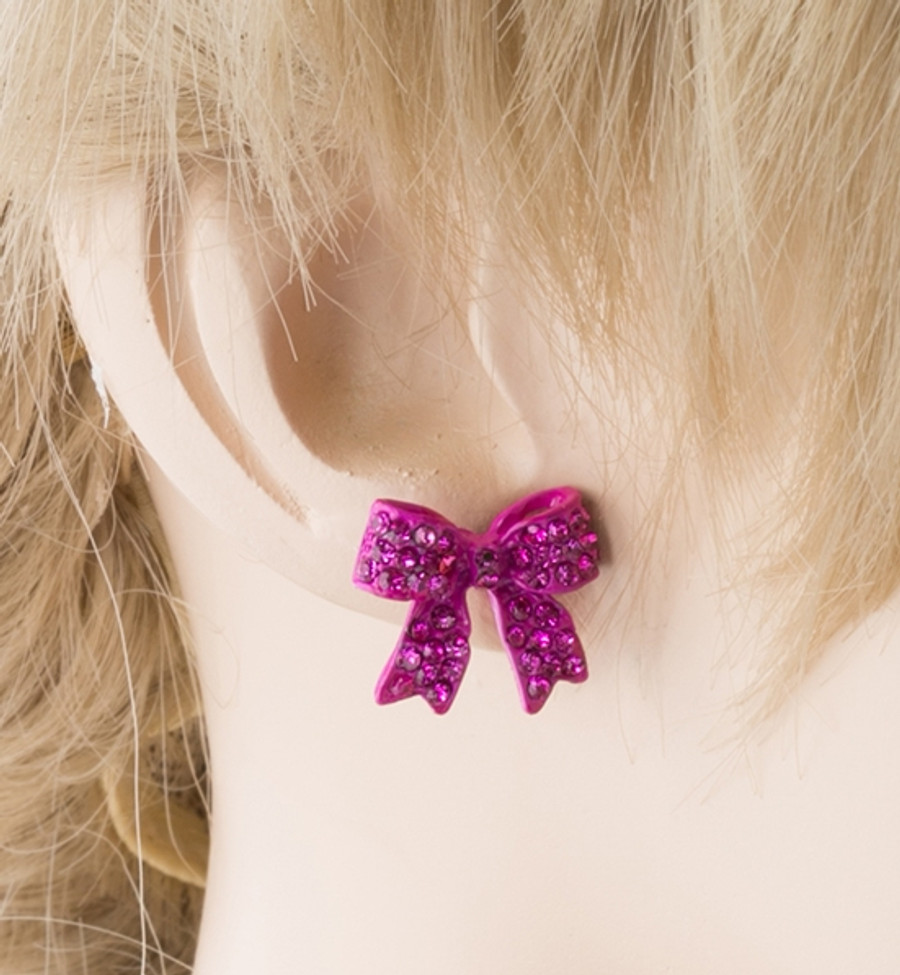 Fashion Crystal Pave Bow Ribbon Stud Earrings Fuschia