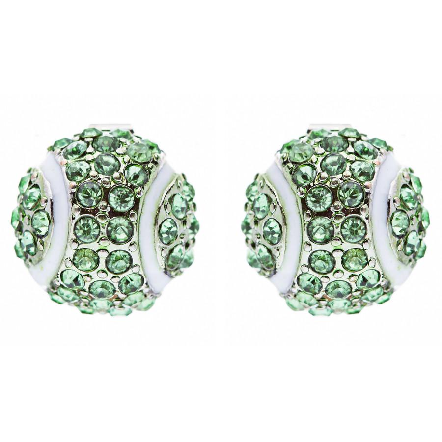 Sport Tennis Crystal Rhinestone 14mm Drop Stud Fashion Earrings Silver Green