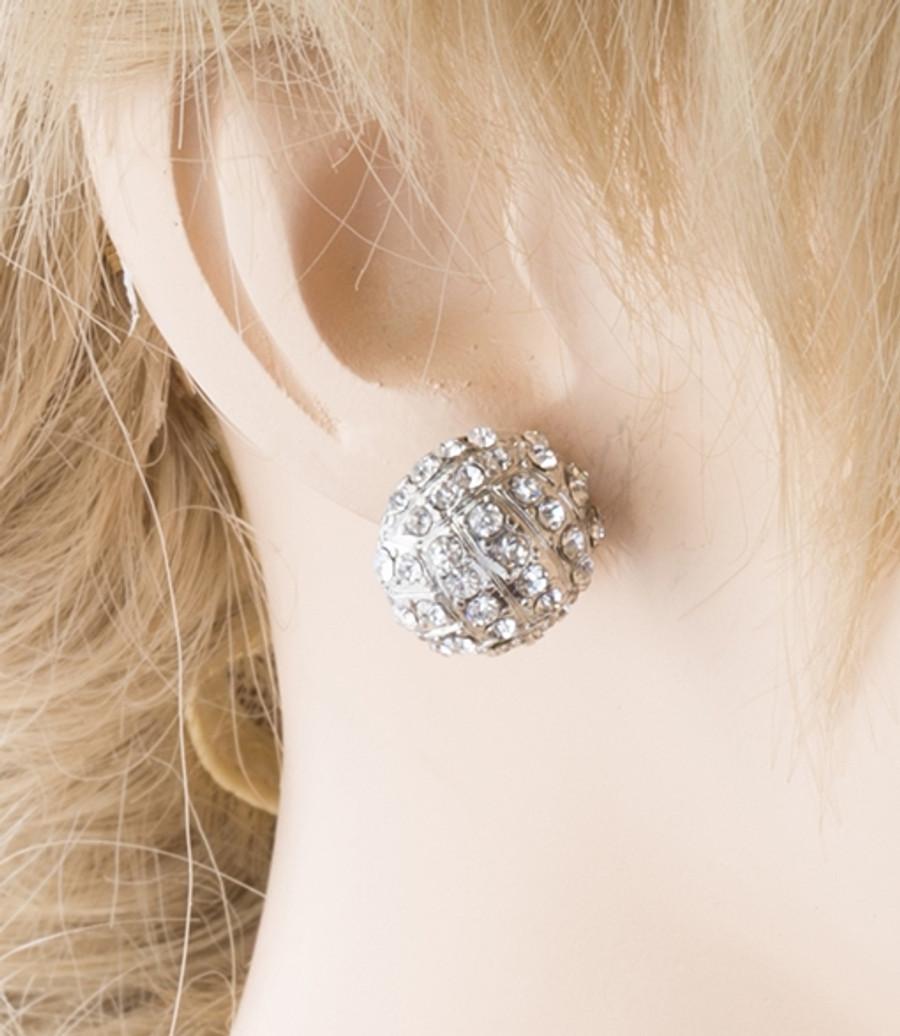 Sport Volleyball Crystal Rhinestone 14mm Drop Stud Fashion Earrings Silver Clear