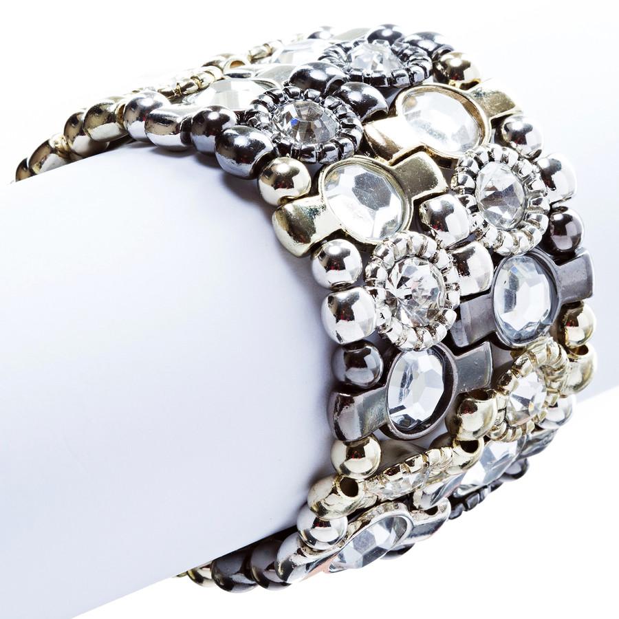 Crystal Vintage Look Stretch Fashion Bracelet Multi