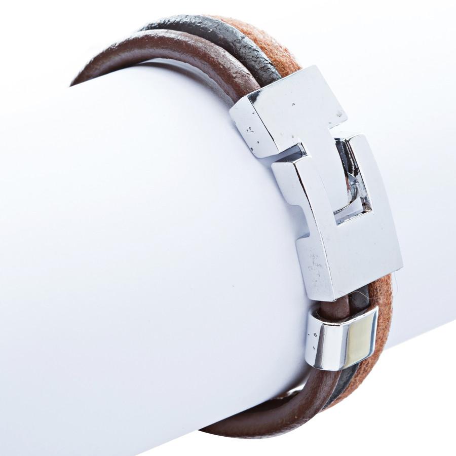 3-Strand T Clasp Leather Bracelet Multi Color