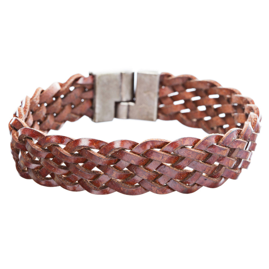 Braided Leather Pewter Bracelet Brown