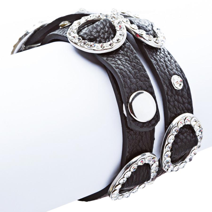 Chic Crystal Buckle Design Button Leatherette Fashion Wrap Bracelet Silver Black
