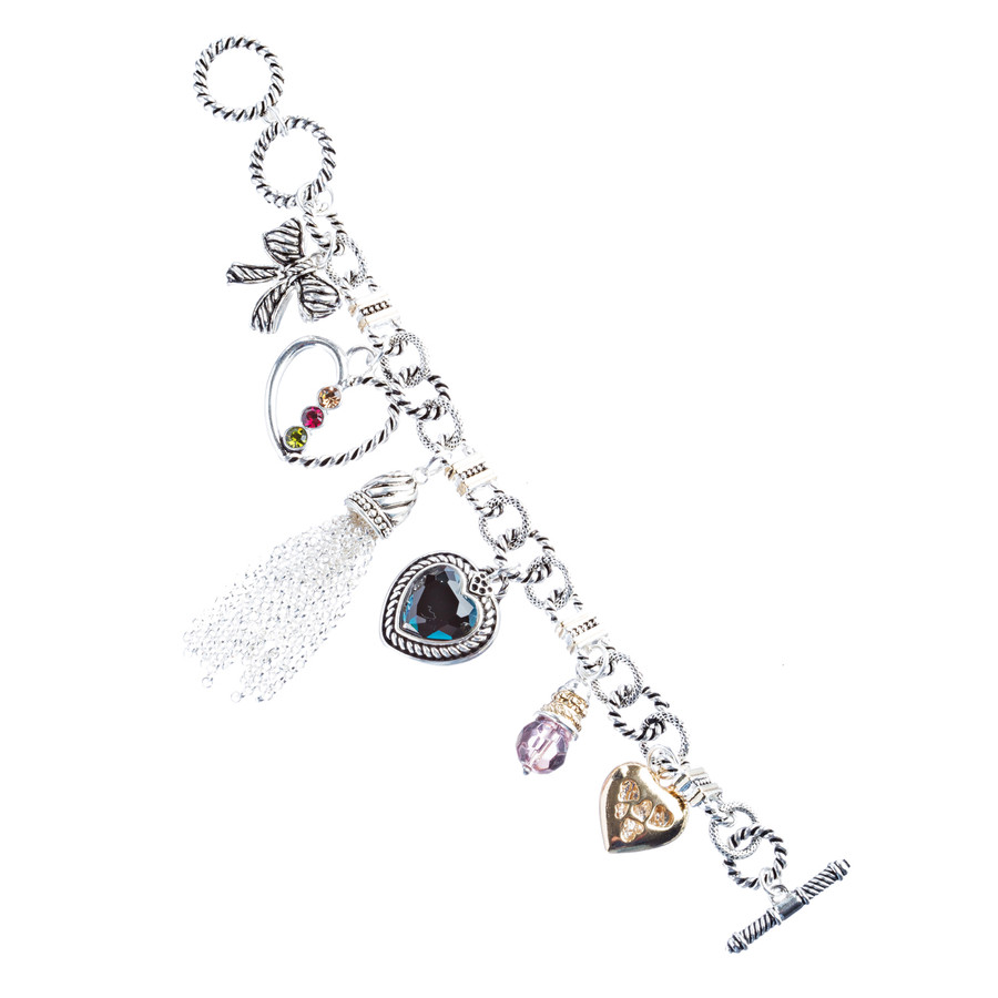 Heart Bow Charm Crystal Gem Toggle Link Bracelet Multi