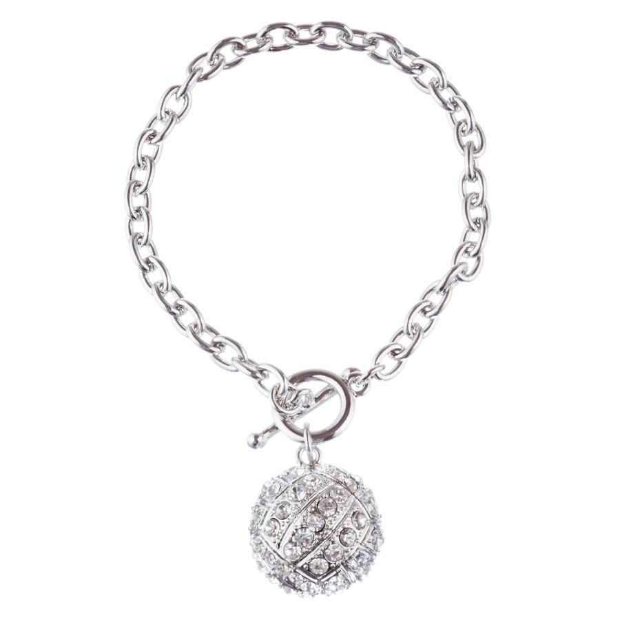 "Sport Volleyball Crystal Rhinestone 7"" Toggle Fashion Bracelet Silver Clear"