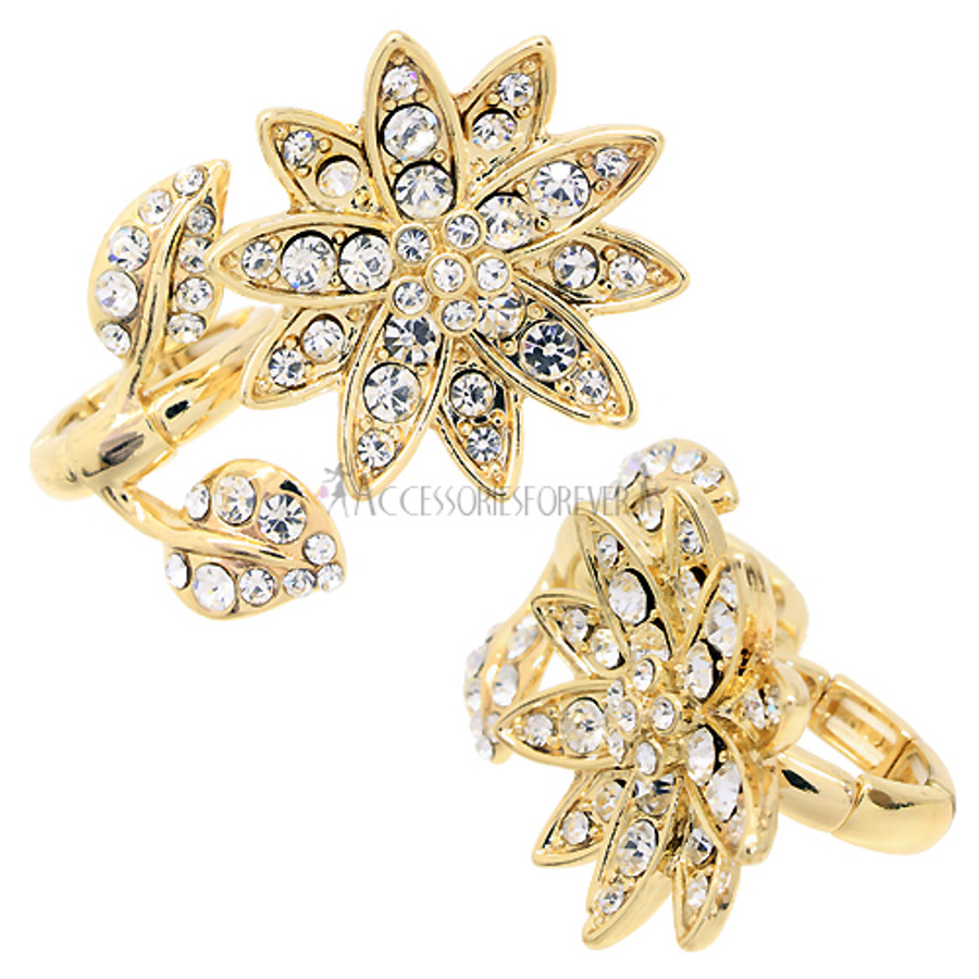 Flower Design Two Finger Stretch Ring Clear Gold