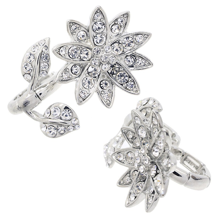 Flower Design Two Finger Stretch Ring Clear Silver
