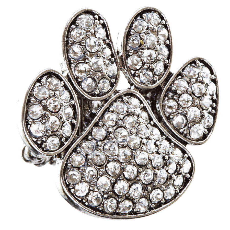 Puppy Paw Crystal Pave Stretch Ring Silver Clear