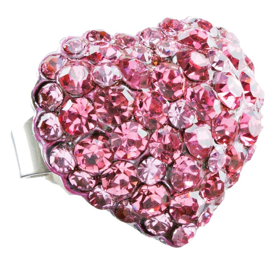 Beautiful Fashion Heart Shape Crystal Stretch Ring Pink