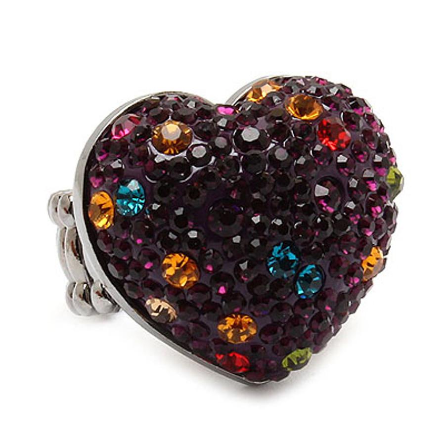 Bubbly Crystal Rhinestone Heart Stretch Adjustable Ring Valentine Purple Multi