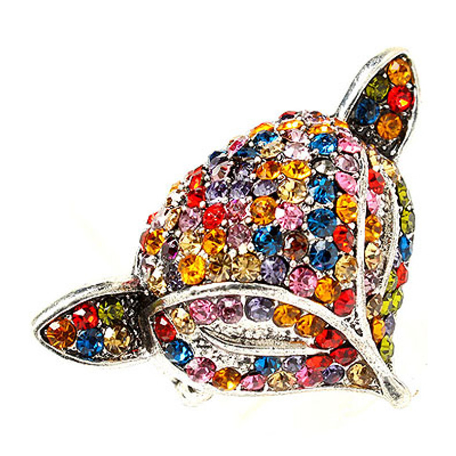 Fox Head Crystal Animal Stretch Adjustable Fashion Ring Antique Silver Multi