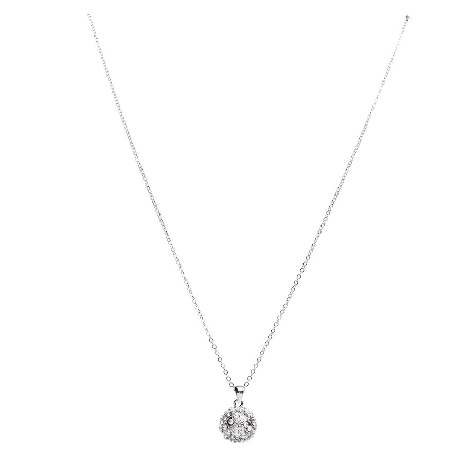 "Sport Volleyball Crystal Rhinestone 14mm 18"" Long Fashion Necklace Silver Clear"