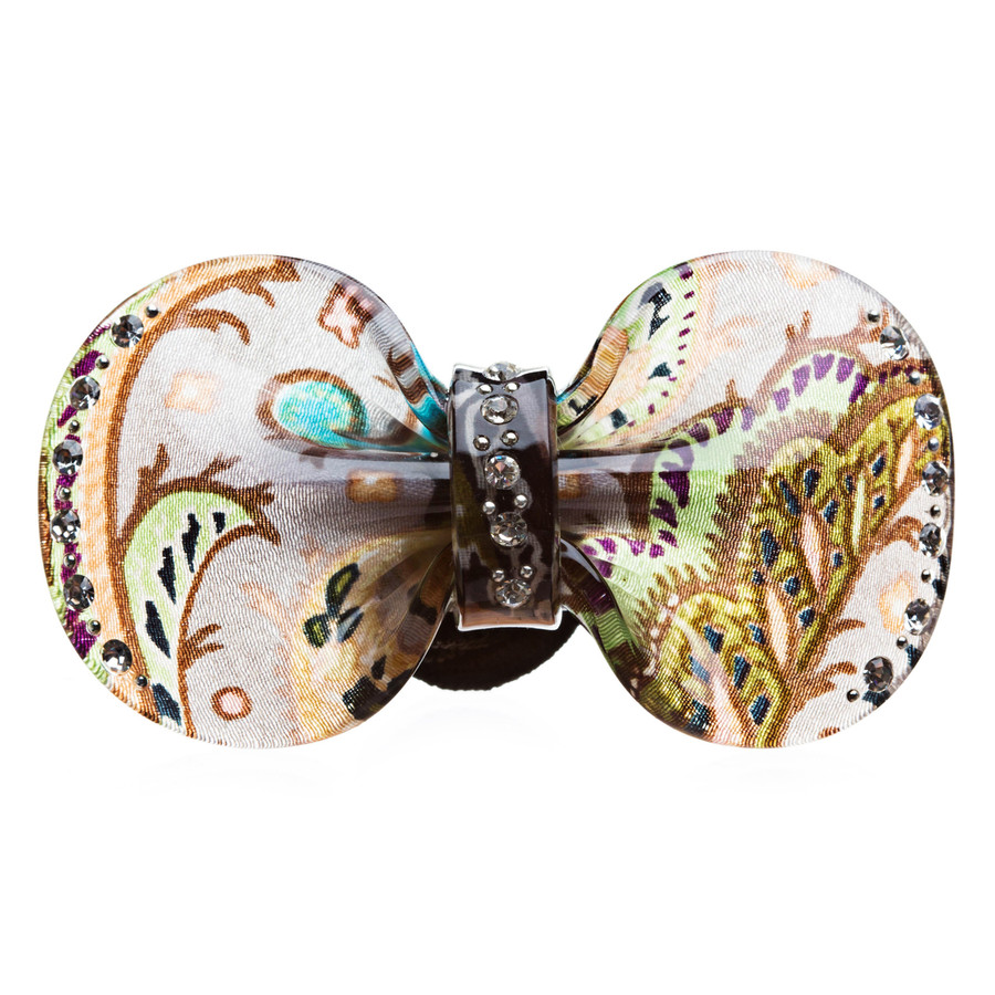 Woman Pony Tail Hair Band Floral Ribbon Green NEW