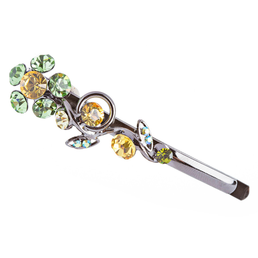Austrian Crystal Hair Clip Jewelry Green & Yellow