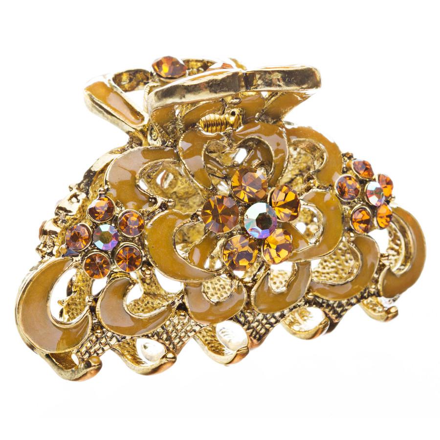 Austrian Crystal Fashion Jewerly Vintage Medium Hair Claw Clip Gold Yellow