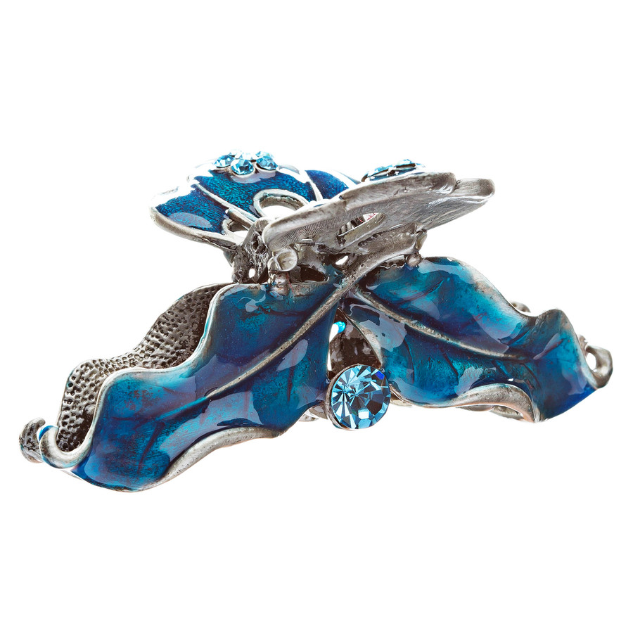 Austrian Crystal Hair Claw Clip Jewelry Cobalt Blue NEW