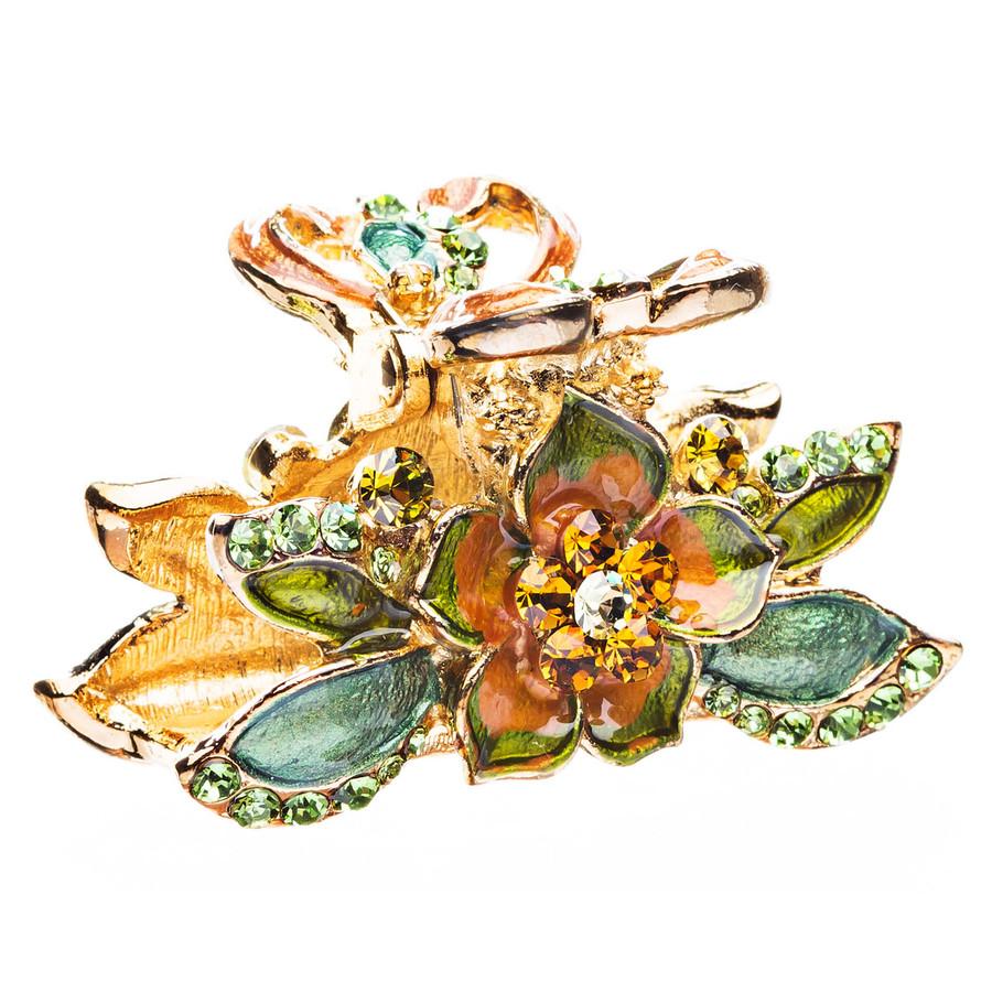 Austrian Crystal Rhinestone Fashion Jewerly Floral Small Hair Claw Gold Green