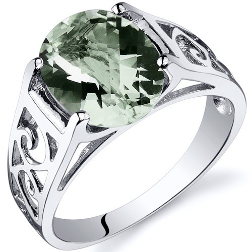 Green Amethyst Ring Sterling Silver Oval Shape 2.25 Carats