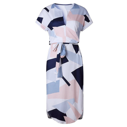 Donna Maniche Corte Maxi Vestitino Chiffon Floreale Print V Collo Dress