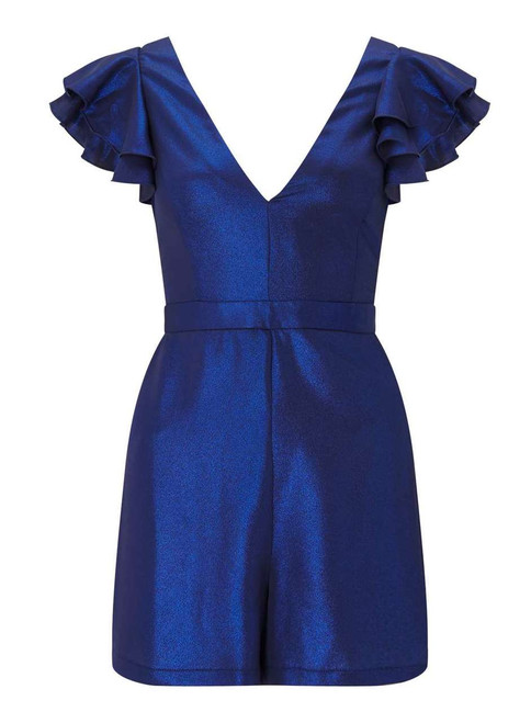 PETITE Blue Shimmer Playsuit