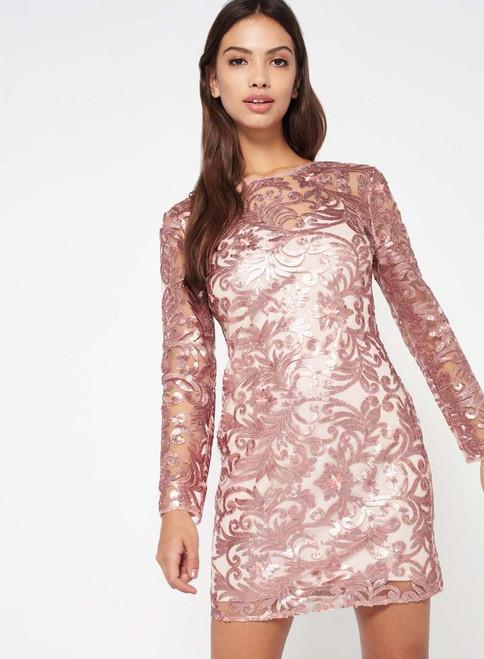 PREMIUM Rose Gold Sequin Mini Dress
