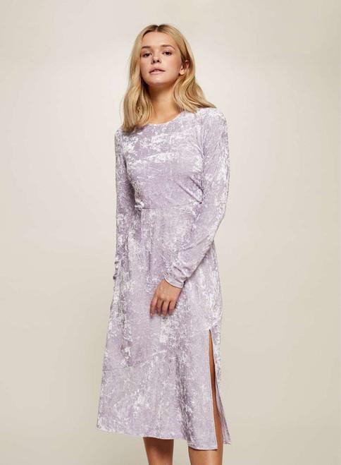 Lilac Velvet Midi Skater Dress